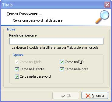 Finestra di ricerca di Password Manager